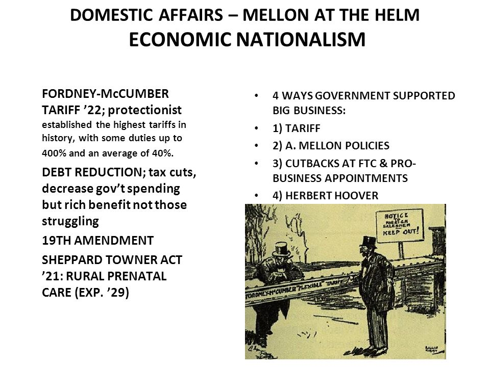 DOMESTIC AFFAIRS – MELLON AT THE HELM ECONOMIC NATIONALISM