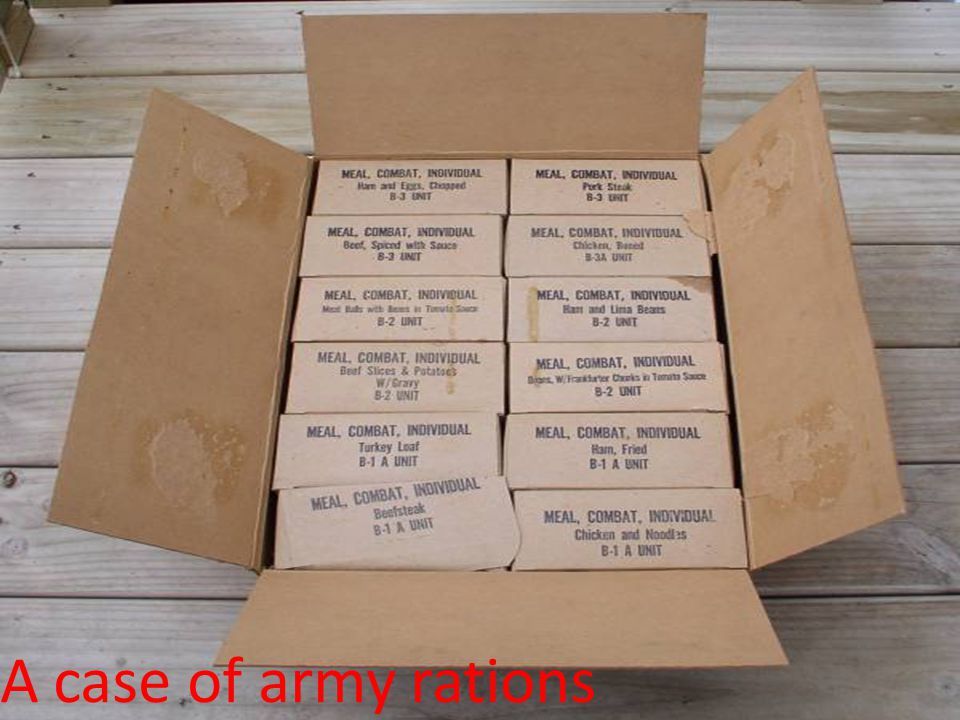 A case of army rations