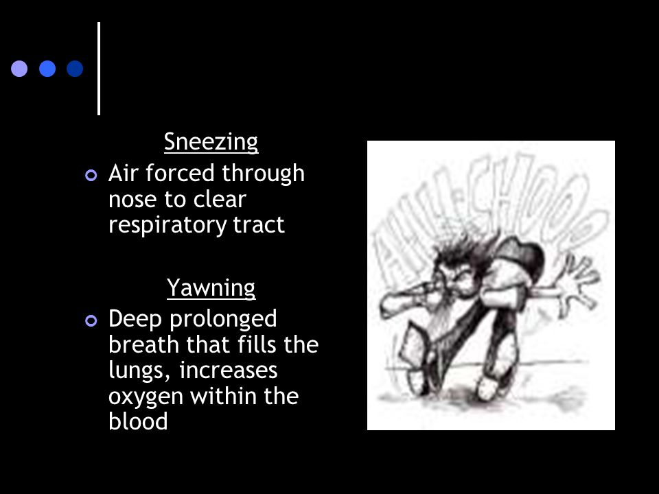 Sneezing Air forced through nose to clear respiratory tract.