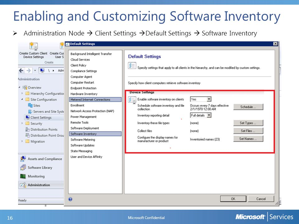 Enabling and Customizing Software Inventory