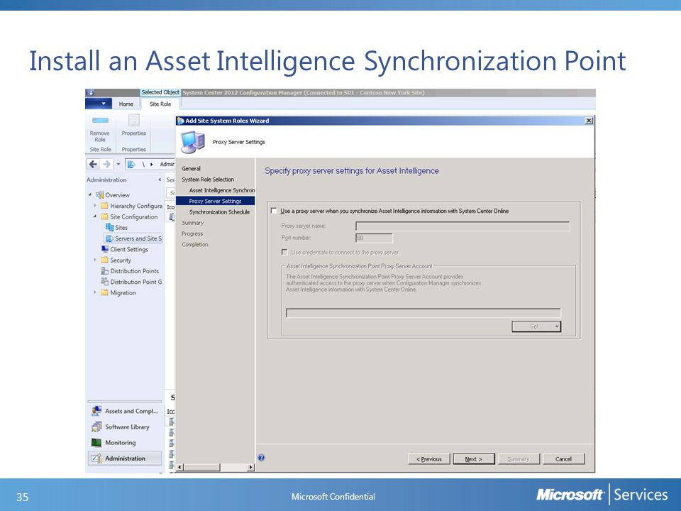 Install an Asset Intelligence Synchronization Point