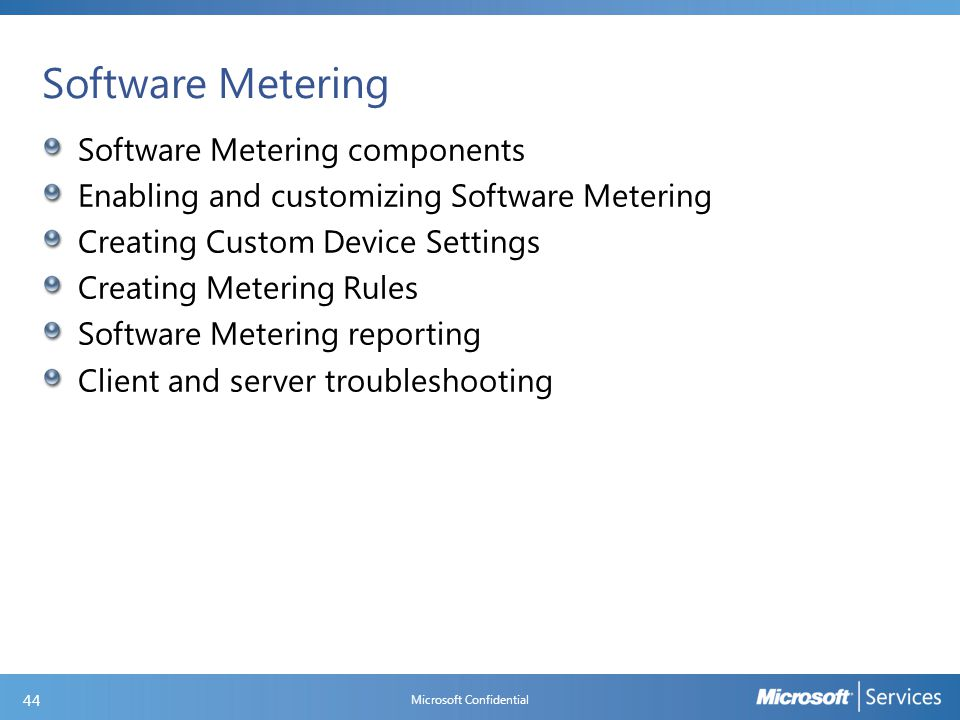Software Metering Components and Logs