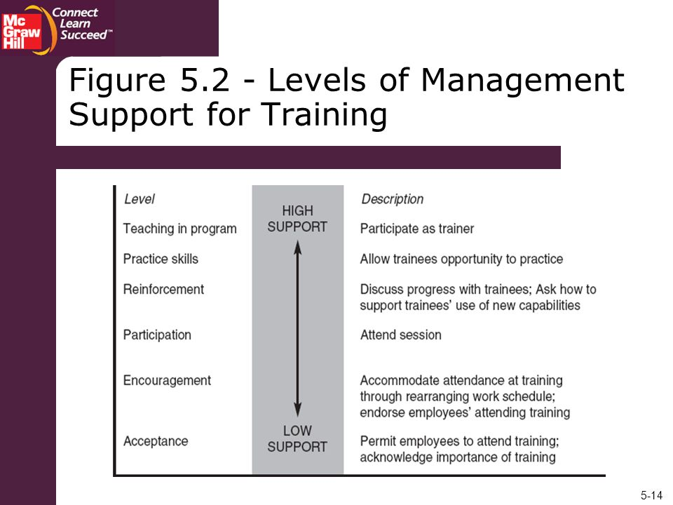 Figure 5.2 - Levels of Management Support for Training