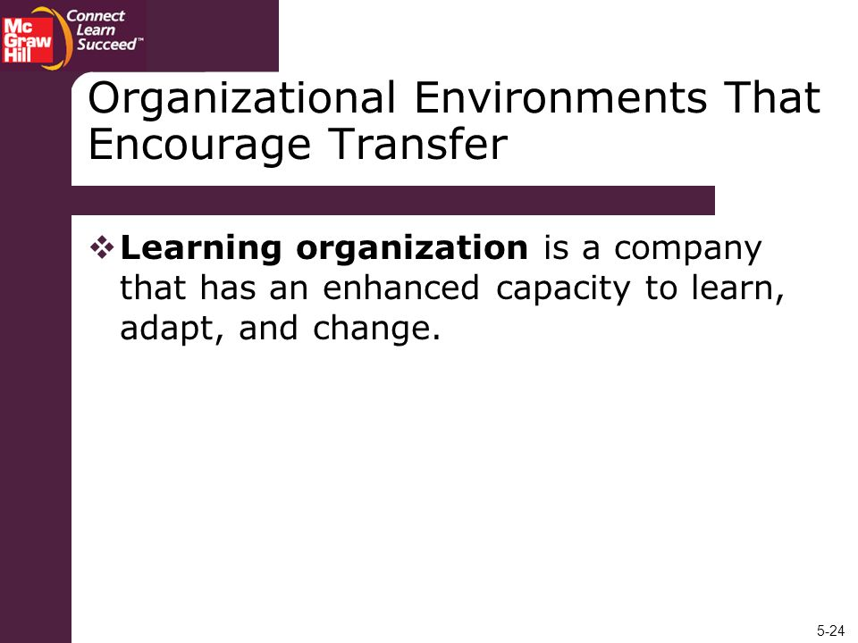 Organizational Environments That Encourage Transfer