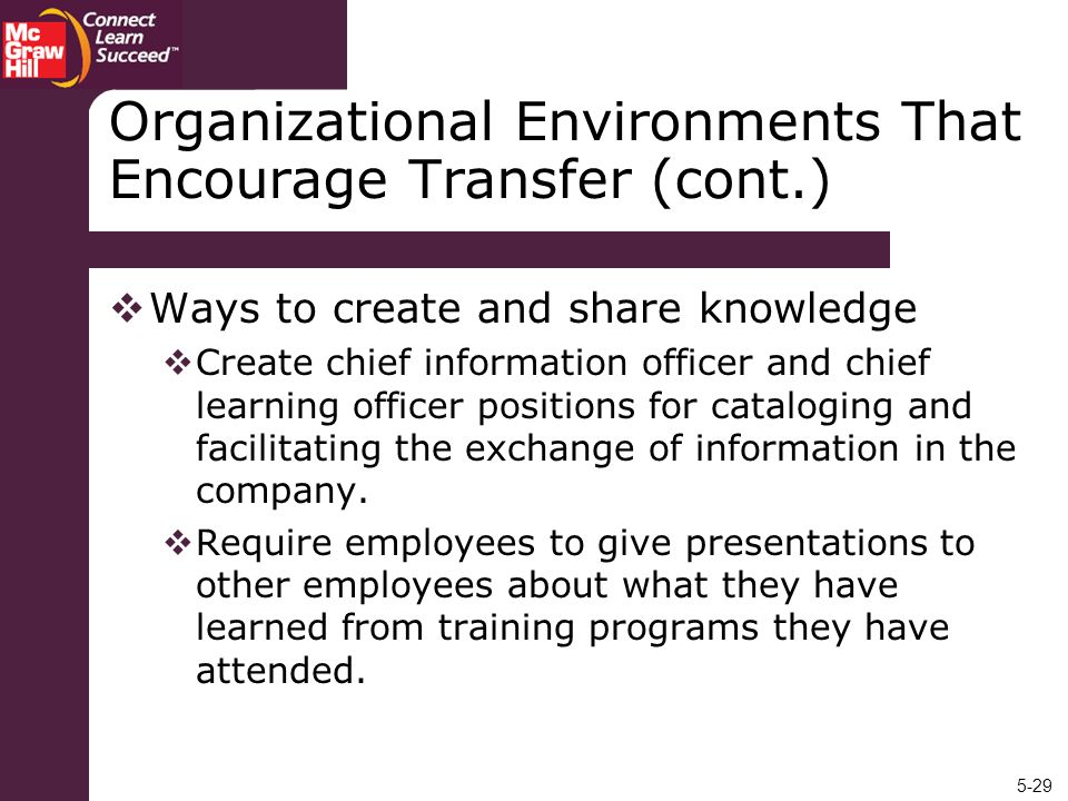 Organizational Environments That Encourage Transfer (cont.)