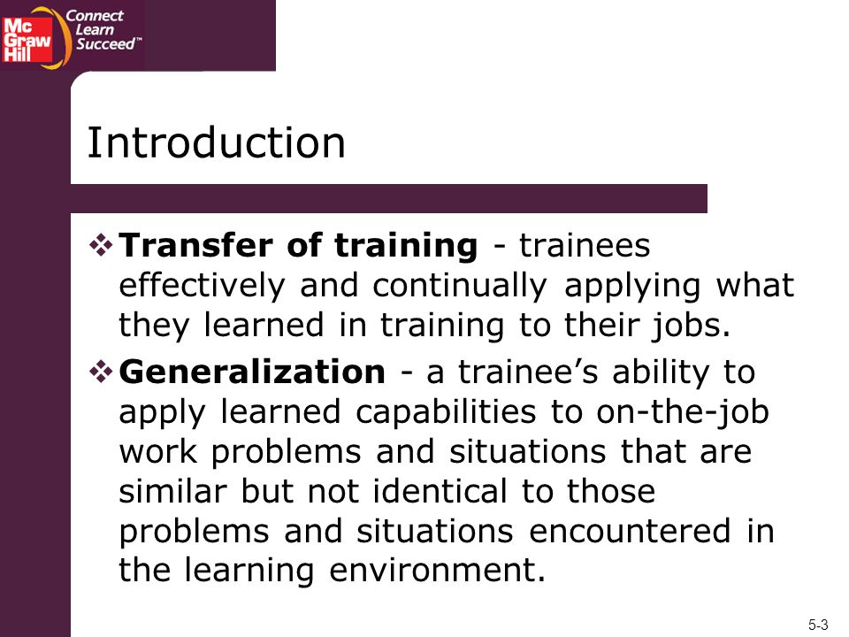 Introduction Transfer of training - trainees effectively and continually applying what they learned in training to their jobs.