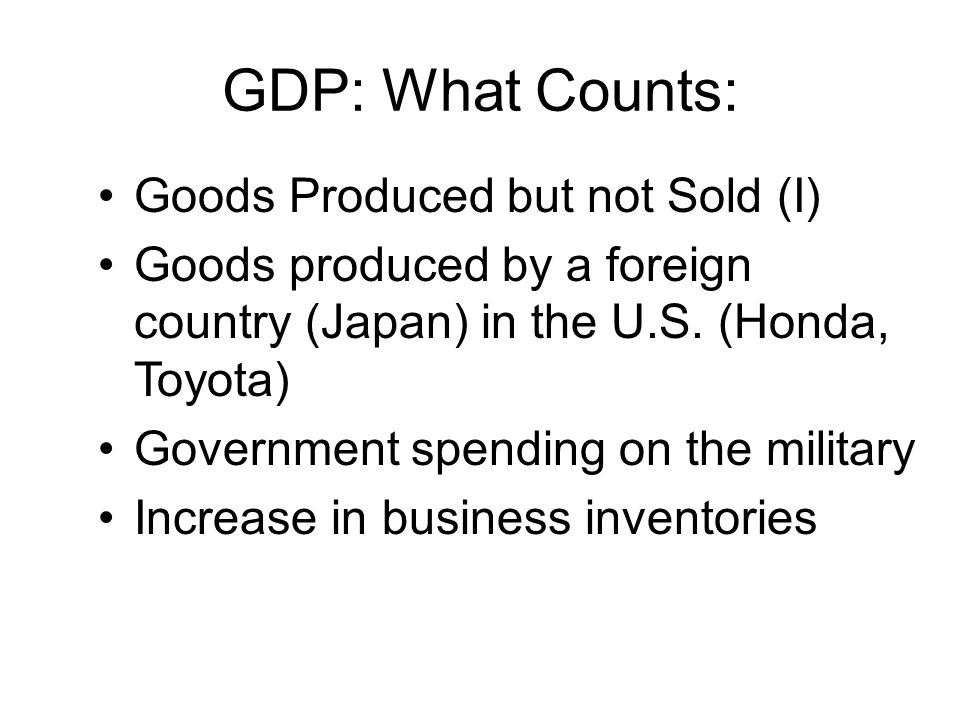 GDP: What Counts: Goods Produced but not Sold (I)