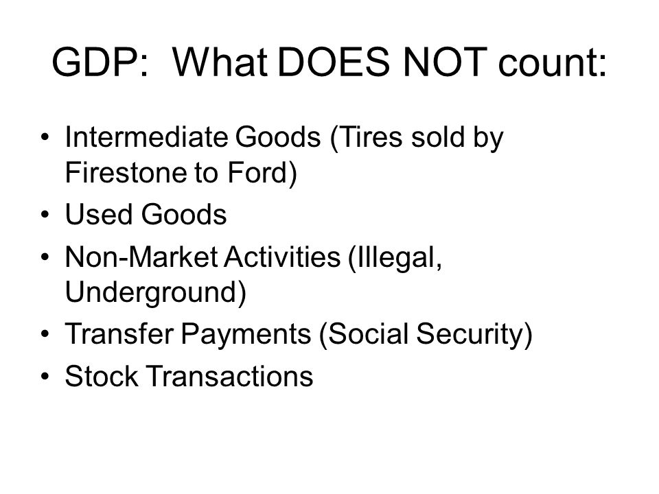 GDP: What DOES NOT count: