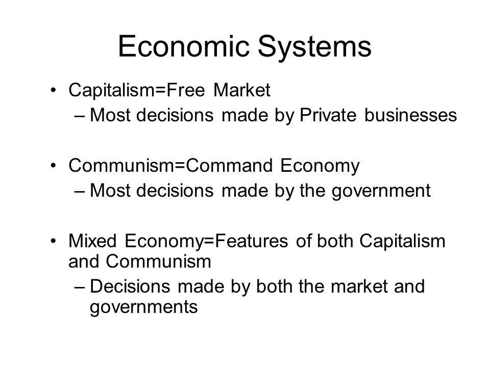 Economic Systems Capitalism=Free Market