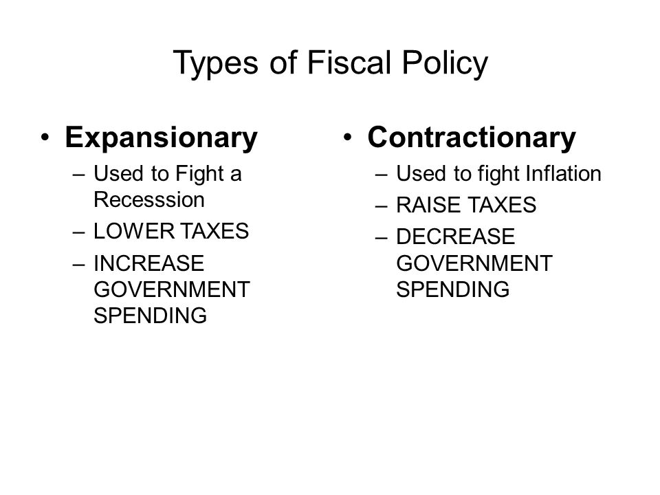 Types of Fiscal Policy Expansionary Contractionary