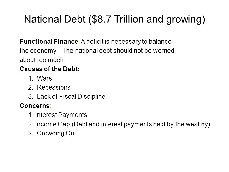 National Debt ($8.7 Trillion and growing)