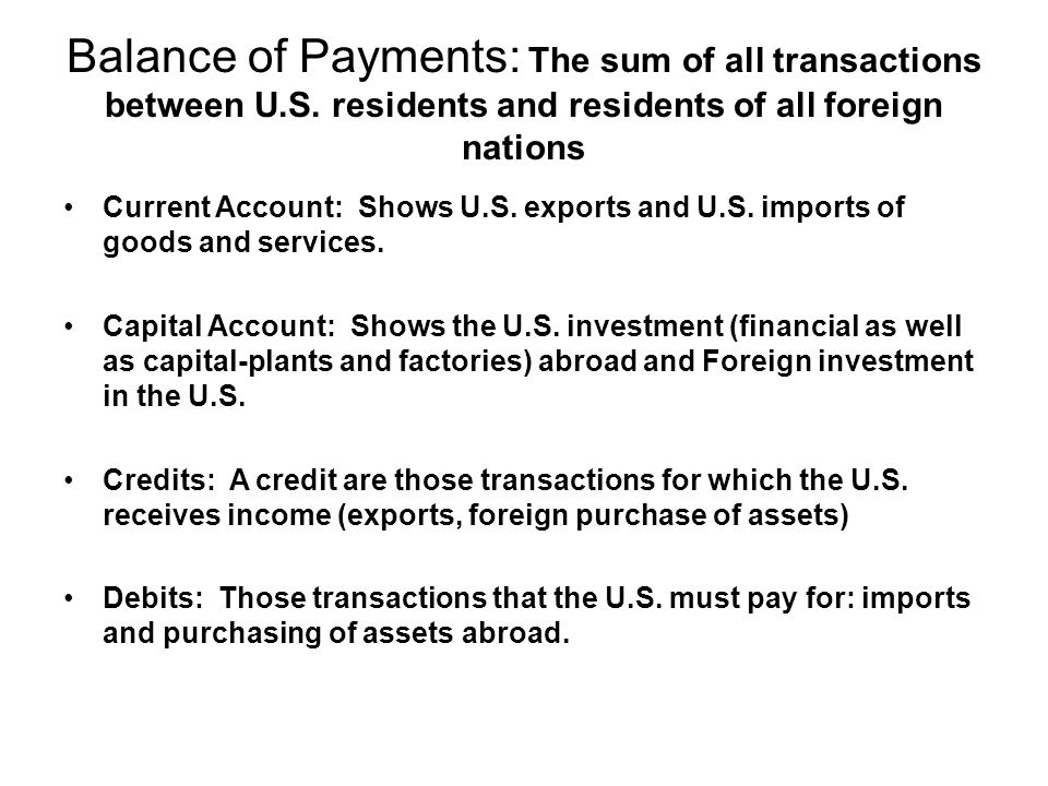 Balance of Payments: The sum of all transactions between U. S