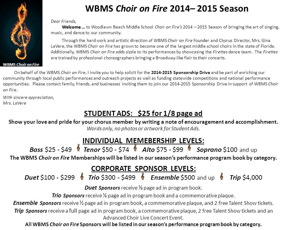 WBMS Choir on Fire 2014– 2015 Season