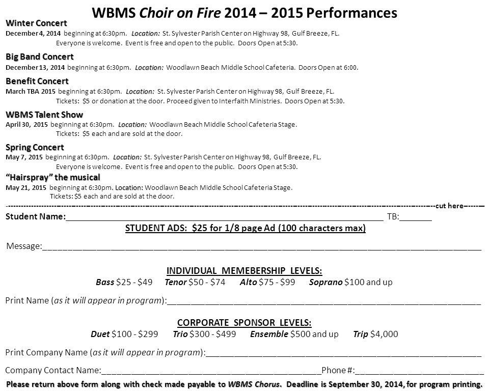 WBMS Choir on Fire 2014 – 2015 Performances