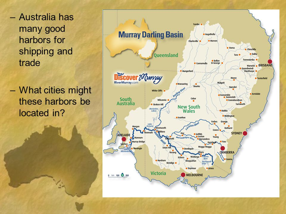 Australia has many good harbors for shipping and trade