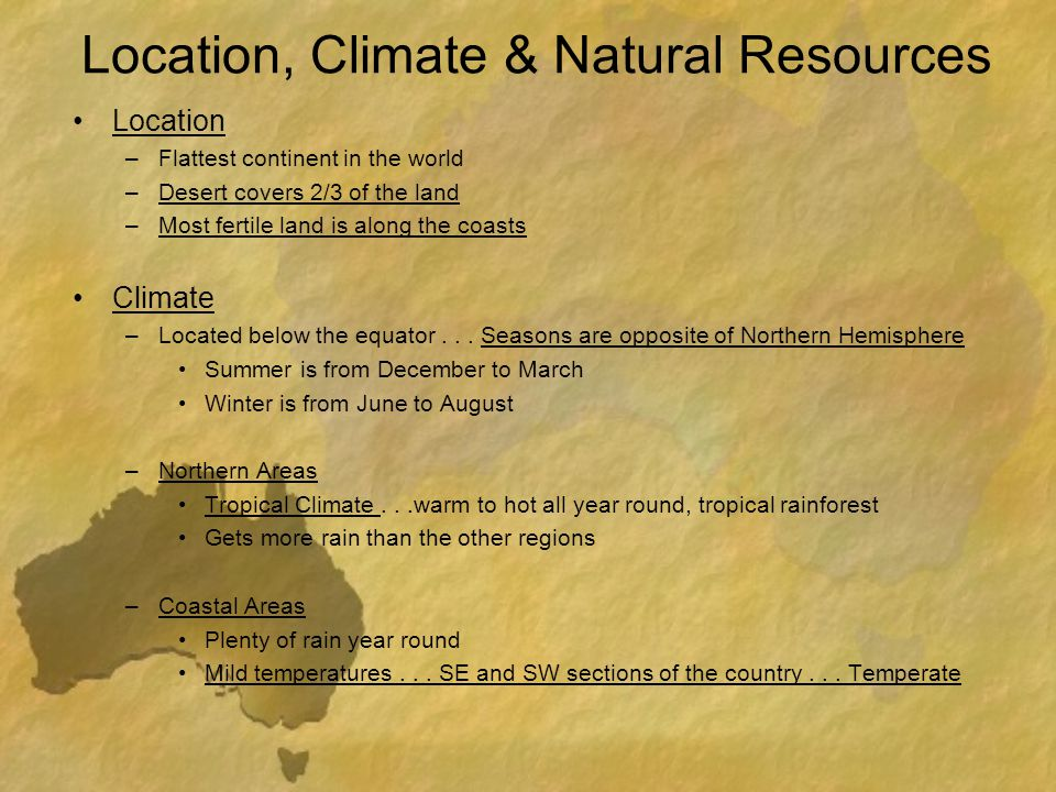 Location, Climate & Natural Resources