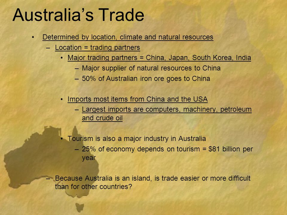 Australia's Trade Determined by location, climate and natural resources. Location = trading partners.