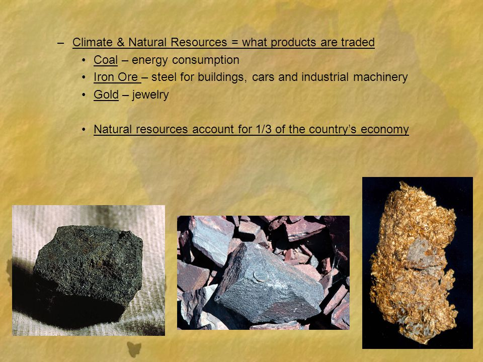 Climate & Natural Resources = what products are traded
