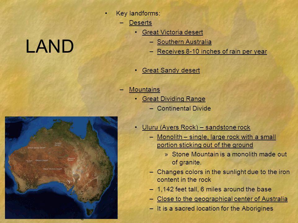 LAND Key landforms: Deserts Great Victoria desert Southern Australia