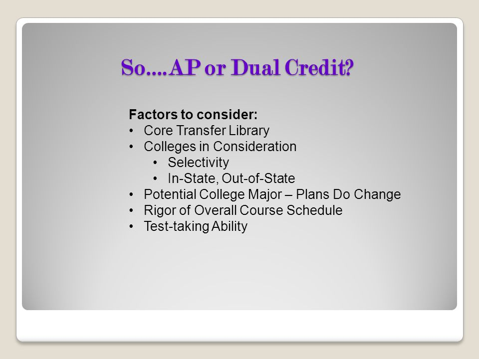 So….AP or Dual Credit Factors to consider: Core Transfer Library
