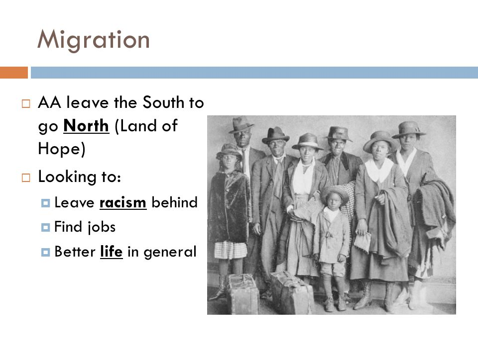 Migration AA leave the South to go North (Land of Hope) Looking to: