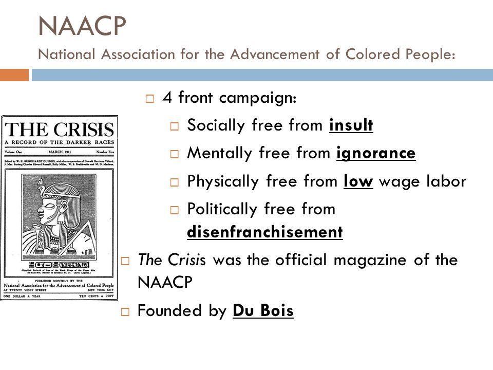 NAACP National Association for the Advancement of Colored People:
