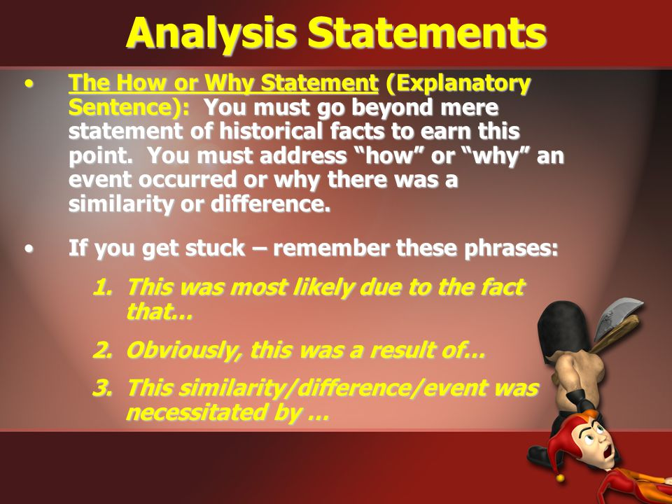 Analysis Statements