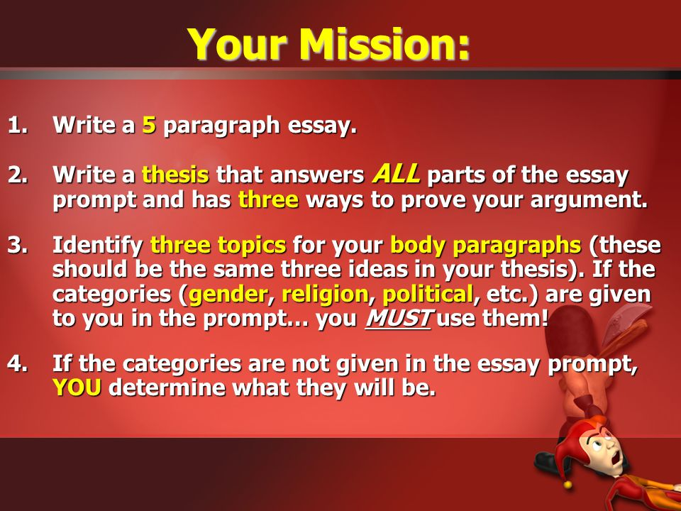 Your Mission: Write a 5 paragraph essay.