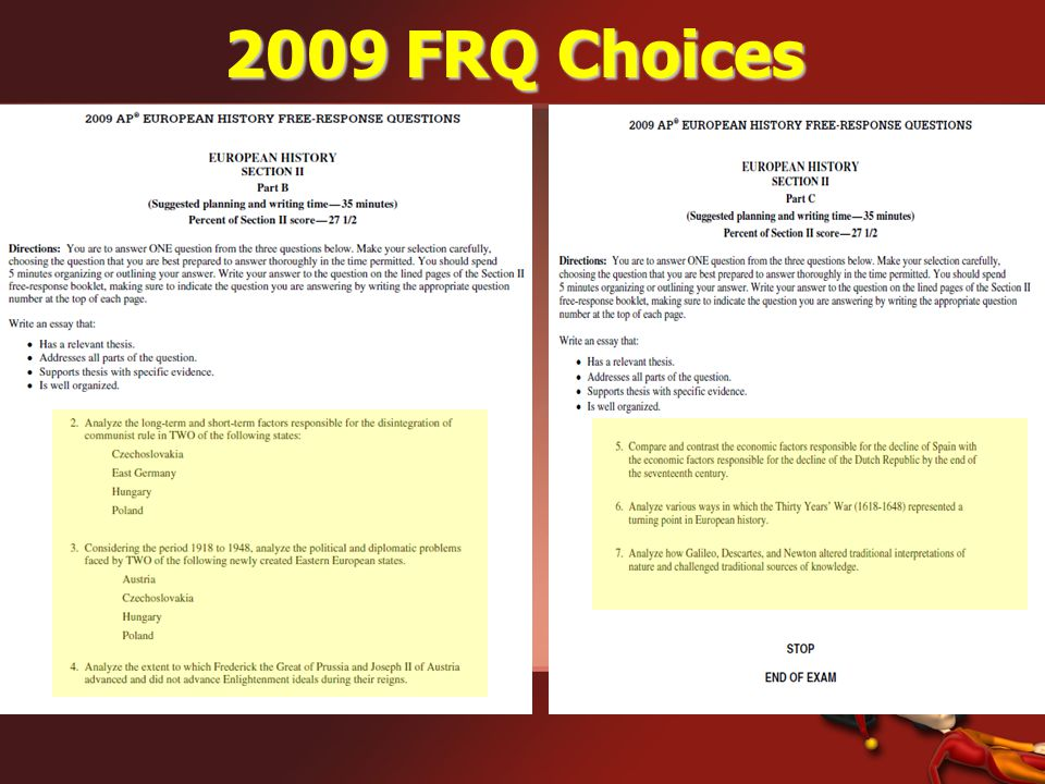 2009 FRQ Choices