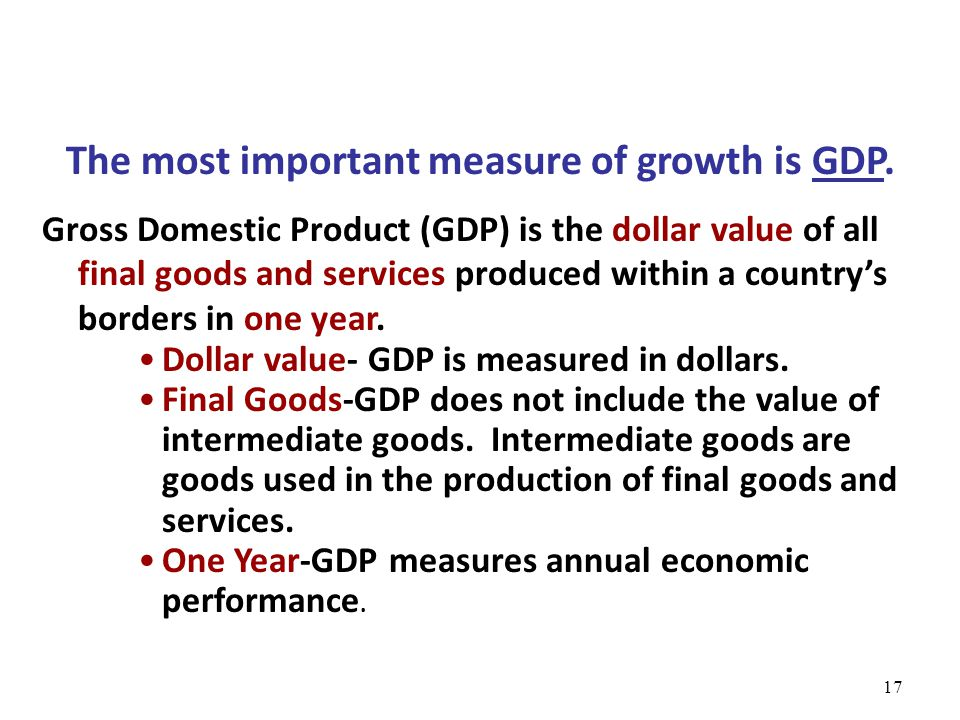 The most important measure of growth is GDP.