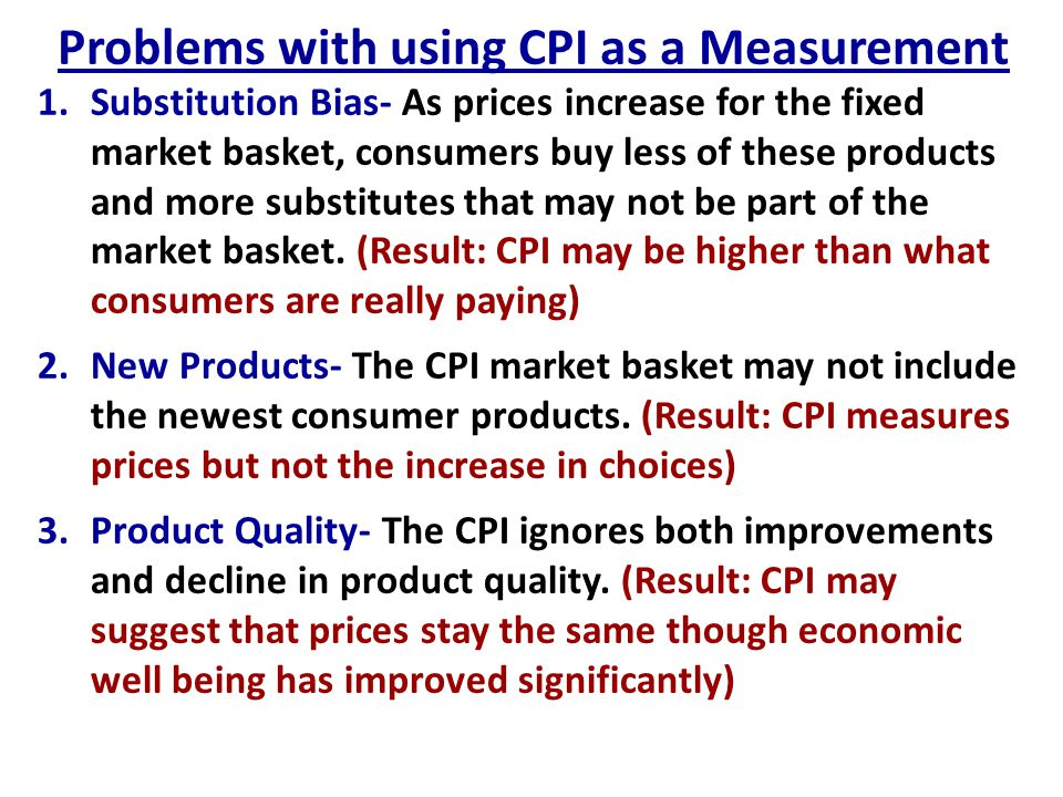 Problems with using CPI as a Measurement
