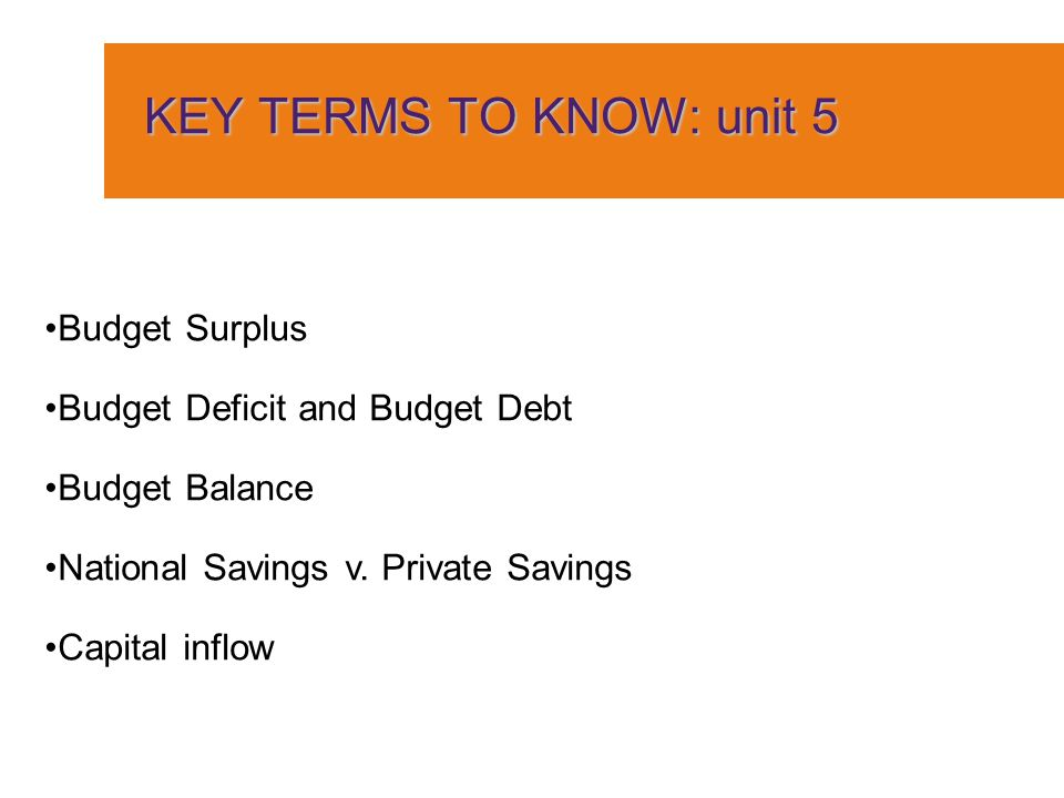 KEY TERMS TO KNOW: unit 5 Budget Surplus