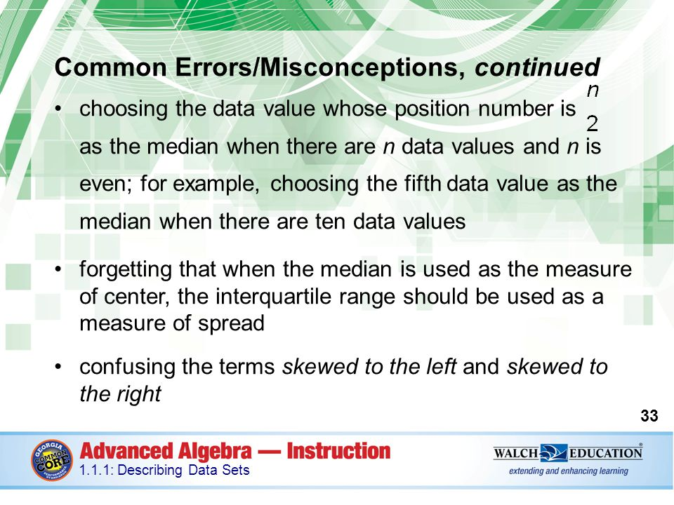 Common Errors/Misconceptions, continued