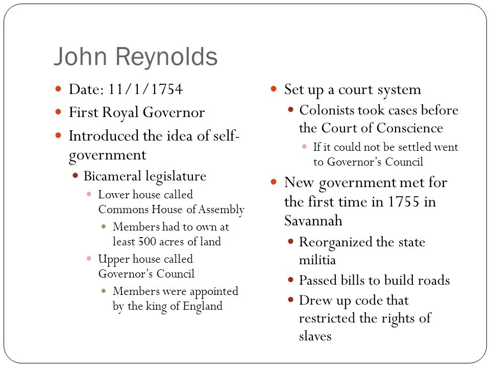 John Reynolds Date: 11/1/1754 First Royal Governor