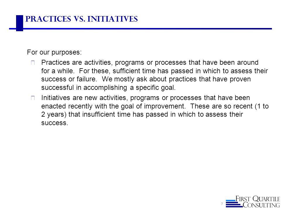 Practices vs. Initiatives