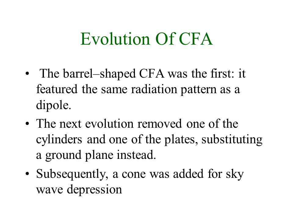 Evolution Of CFA The barrel–shaped CFA was the first: it featured the same radiation pattern as a dipole.
