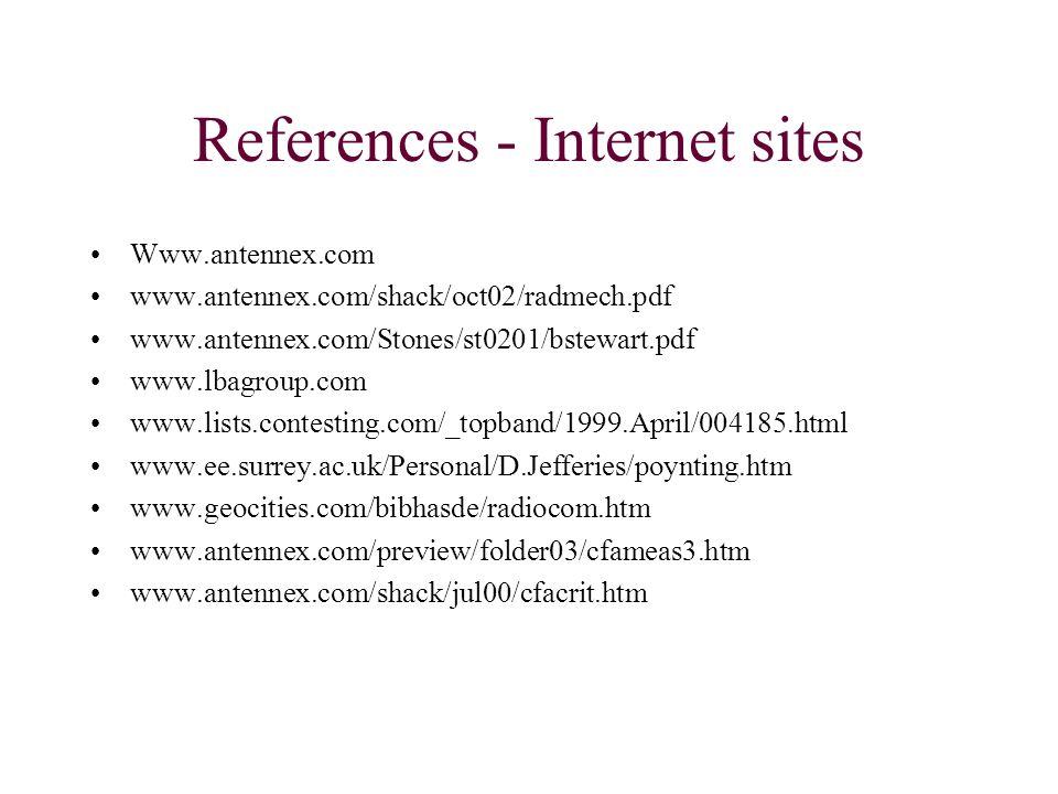 References - Internet sites