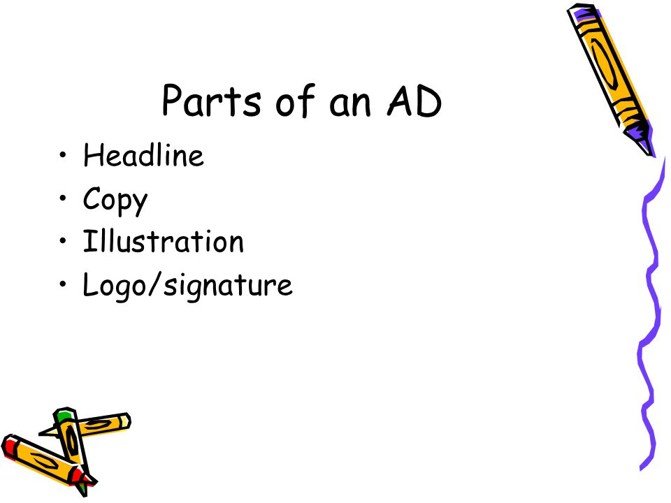 Parts of an AD Headline Copy Illustration Logo/signature