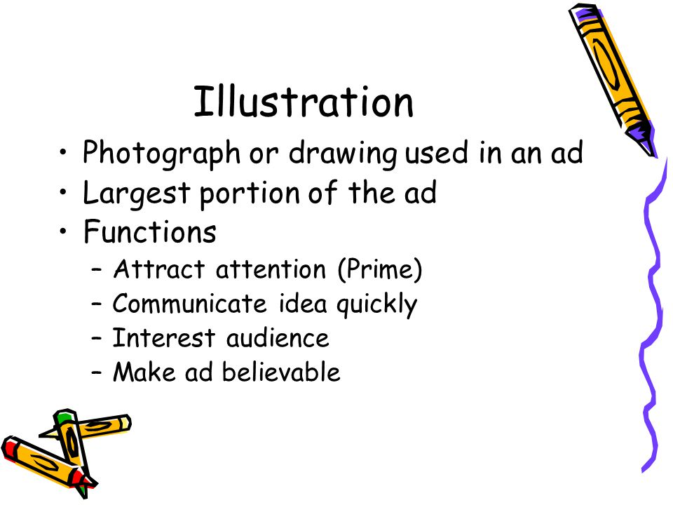Illustration Photograph or drawing used in an ad
