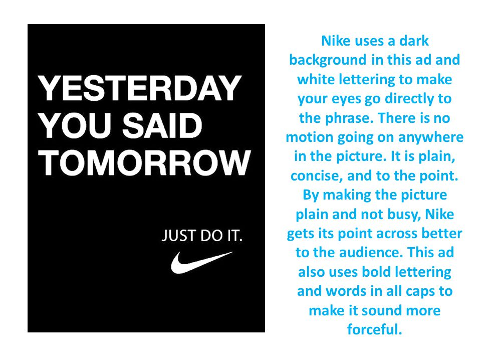 nike advertisement analysis essay Emphasis is placed on determining how nike advertising reached such great  levels of  content analysis approach, the differences between ads that are  exclusively  in mitchell's essays on iconology, he discusses what he calls a  rhetoric.