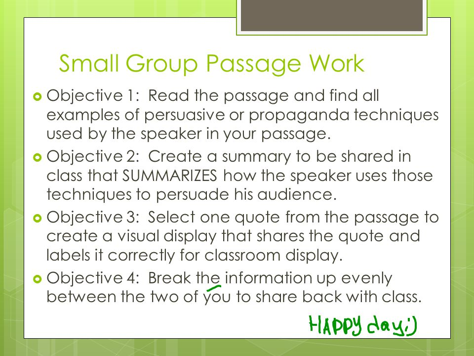 Small Group Passage Work