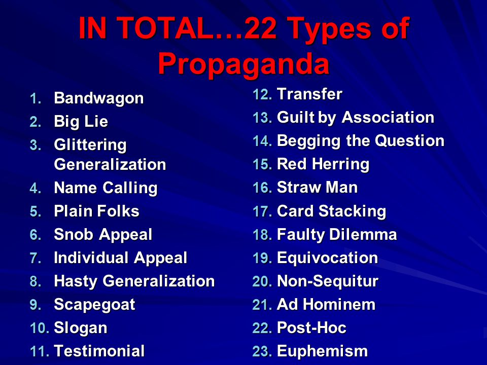 IN TOTAL…22 Types of Propaganda