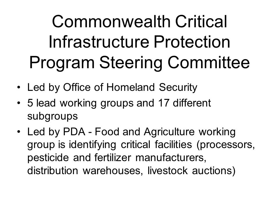 Commonwealth Critical Infrastructure Protection Program Steering Committee
