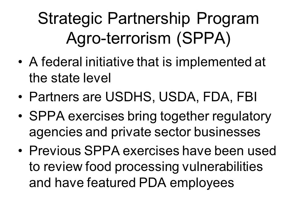 Strategic Partnership Program Agro-terrorism (SPPA)
