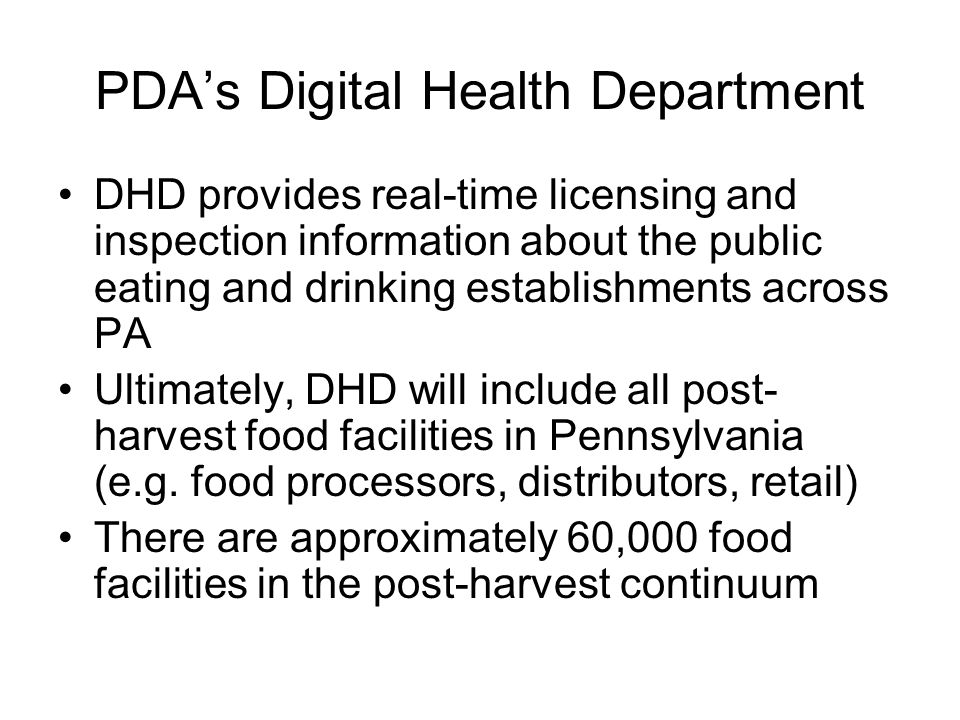 PDA's Digital Health Department