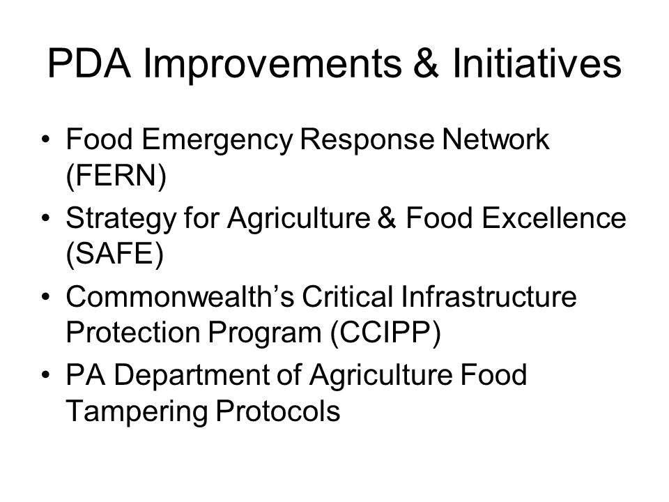 PDA Improvements & Initiatives