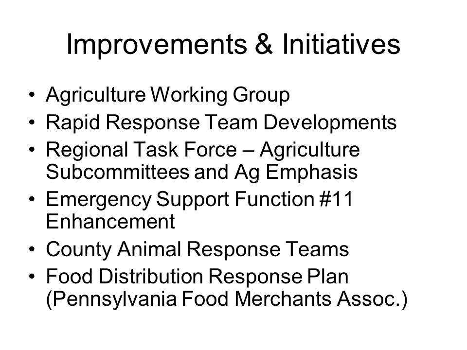 Improvements & Initiatives