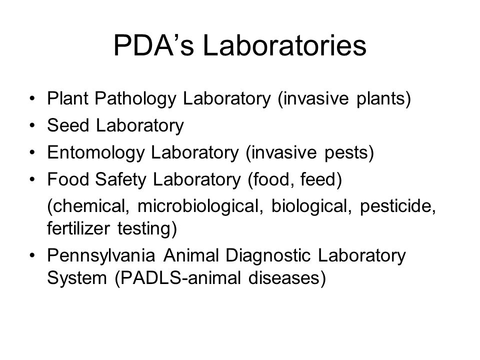 PDA's Laboratories Plant Pathology Laboratory (invasive plants)