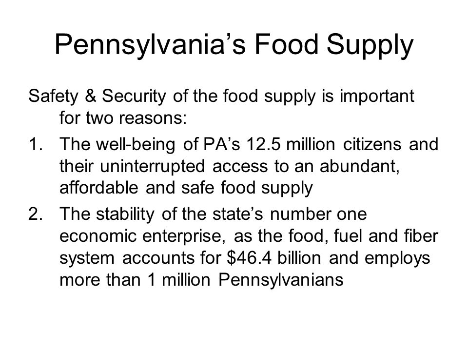 Pennsylvania's Food Supply