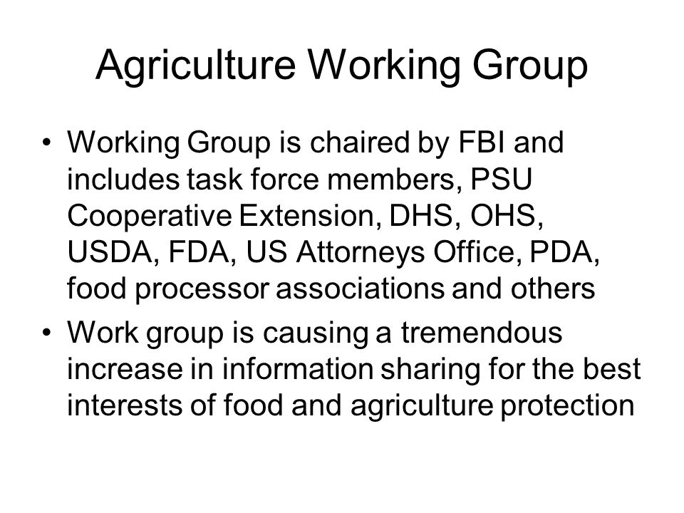 Agriculture Working Group
